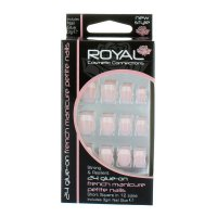 Royal 24 French Manicure Petite Nails Tips With Glue (12 UNITS)