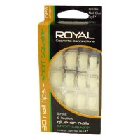 Royal 30 Short Square Nail Tips With Nail Glue 3g BULK (144 UNIT
