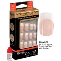 Royal 24 French Manicure Beige Short Square Nail Tips (12 UNITS)